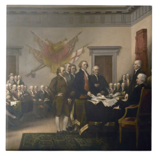 Signing the Declaration of Independence, July 4th Large Square Tile