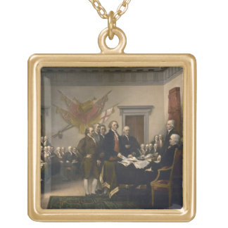 Signing the Declaration of Independence, July 4th Square Pendant Necklace