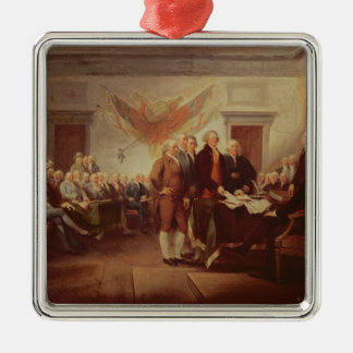 Signing the Declaration of Independence Square Metal Christmas Ornament