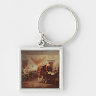 Signing the Declaration of Independence Silver-Colored Square Keychain