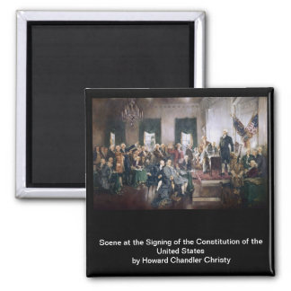 Signing the US Constitution by Christy 2 Inch Square Magnet