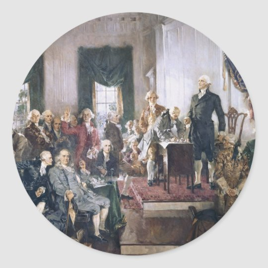 Signing the US Constitution by Christy Classic Round Sticker