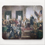 """Signing the US Constitution by Christy Mouse Pad<br><div class=""""desc"""">This item features a print of the beautiful painting  titled &quot;Scene at the Signing of the Constitution of the United States&quot; by Howard Chandler Christy.  George Washington and our other founding fathers are featured in this patriotic design from American History Fun Facts.</div>"""