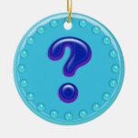 Signo de interrogación de la aguamarina adorno de navidad