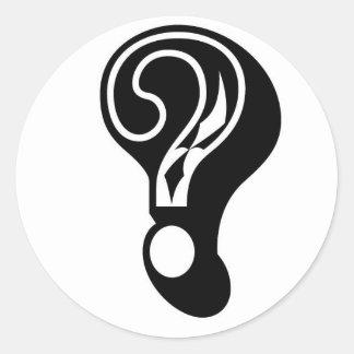 signo de interrogación de la compañía de la caja pegatina redonda