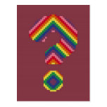 Signo de interrogación del arco iris tarjeta postal