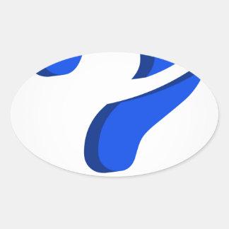 Signo de interrogación estilizado 3d pegatina ovalada