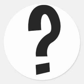 Signo de interrogación negro pegatina redonda