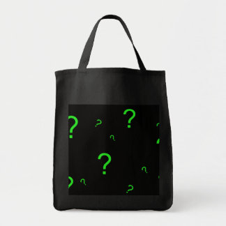 Signo de interrogación verde de neón bolsa tela para la compra