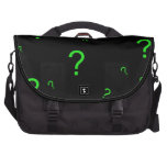 Signo de interrogación verde de neón bolsas para portátil