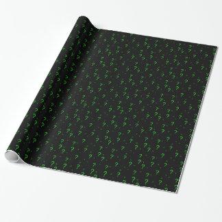 Signo de interrogación verde de neón papel de regalo