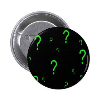 Signo de interrogación verde de neón pin redondo 5 cm