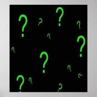 Signo de interrogación verde de neón póster