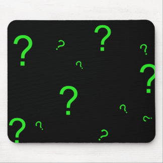 Signo de interrogación verde de neón tapete de raton