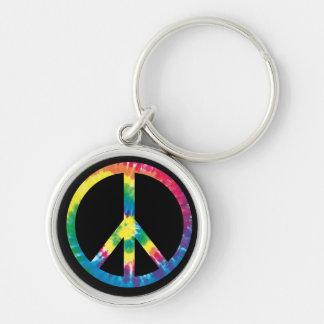 Signo de la paz 2 del teñido anudado llavero redondo plateado
