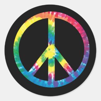 Signo de la paz 2 del teñido anudado pegatina redonda