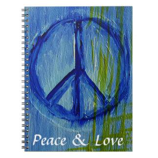 Signo de la paz abstracto de encargo libreta