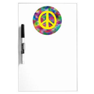 Signo de la paz amarillo en fondo coloreado arco i