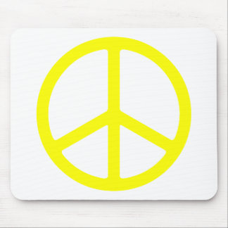 Signo de la paz amarillo fino tapetes de ratón