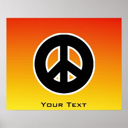 Signo de la paz amarillo-naranja posters