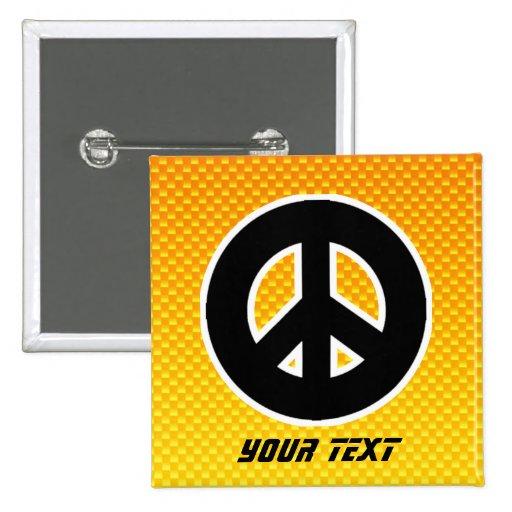 Signo de la paz amarillo-naranja pins