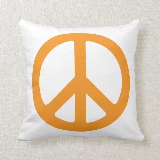 Signo de la paz anaranjado cojin