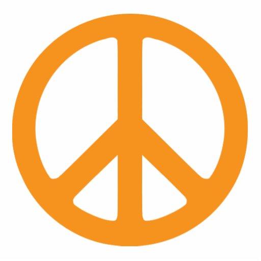 Signo de la paz anaranjado fotoescultura vertical