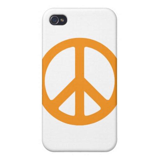 Signo de la paz anaranjado iPhone 4 cárcasa