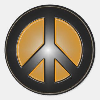 Signo de la paz anaranjado pegatina redonda