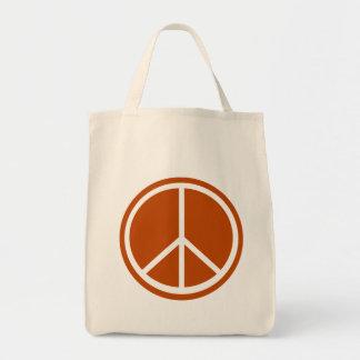 Signo de la paz anaranjado quemado obra clásica bolsa tela para la compra