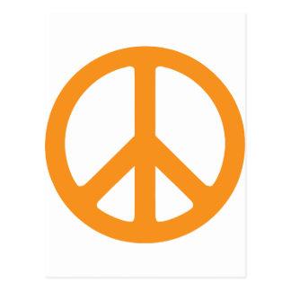 Signo de la paz anaranjado tarjeta postal