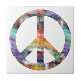 Signo de la paz artístico azulejo cuadrado pequeño