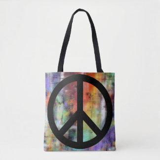 Signo de la paz artístico del Grunge Bolsa De Tela