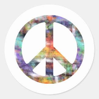 Signo de la paz artístico pegatina redonda