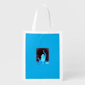 signo de la paz azul del chica del hippie bolsas para la compra