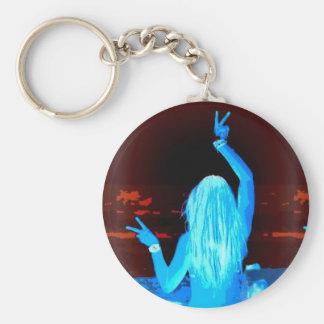 signo de la paz azul del hippie llavero redondo tipo pin