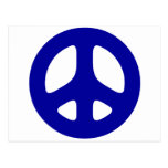 Signo de la paz azul grande postal