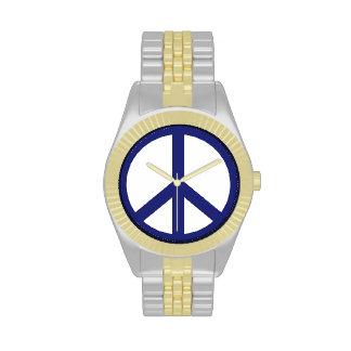 Signo de la paz azul marino relojes de mano