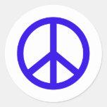 Signo de la paz azul pegatinas redondas