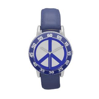 Signo de la paz azul relojes de mano