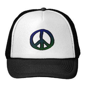 Signo de la paz azul y verde gorros