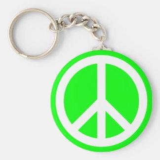 Signo de la paz blanco en la cal llavero redondo tipo pin