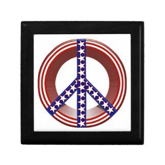 Signo de la paz blanco y azul rojo caja de regalo