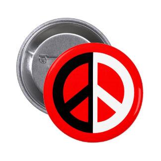 signo de la paz blanco y negro del Dos-tono Pin Redondo De 2 Pulgadas