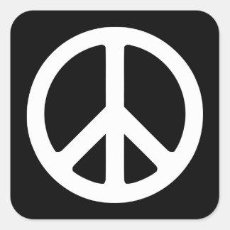 Signo de la paz blanco y negro pegatina cuadrada