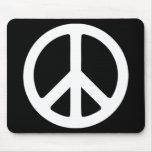 Signo de la paz blanco y negro tapetes de ratones