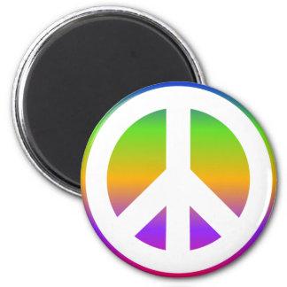 Signo de la paz brillante del arco iris imán redondo 5 cm