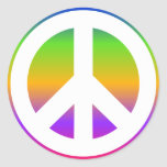 Signo de la paz brillante del arco iris etiqueta redonda