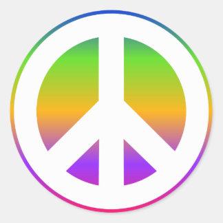 Signo de la paz brillante del arco iris pegatina redonda