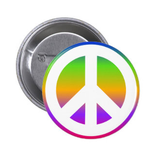 Signo de la paz brillante del arco iris pin redondo 5 cm